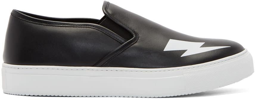 Neil Barrett Black Thunderbolt Slip-on Sneakers