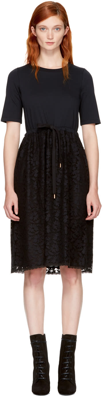Image of See By Chloé Black Lace and Cotton Dress