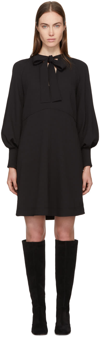 Image of See By Chloé Black Bow Collar Dress