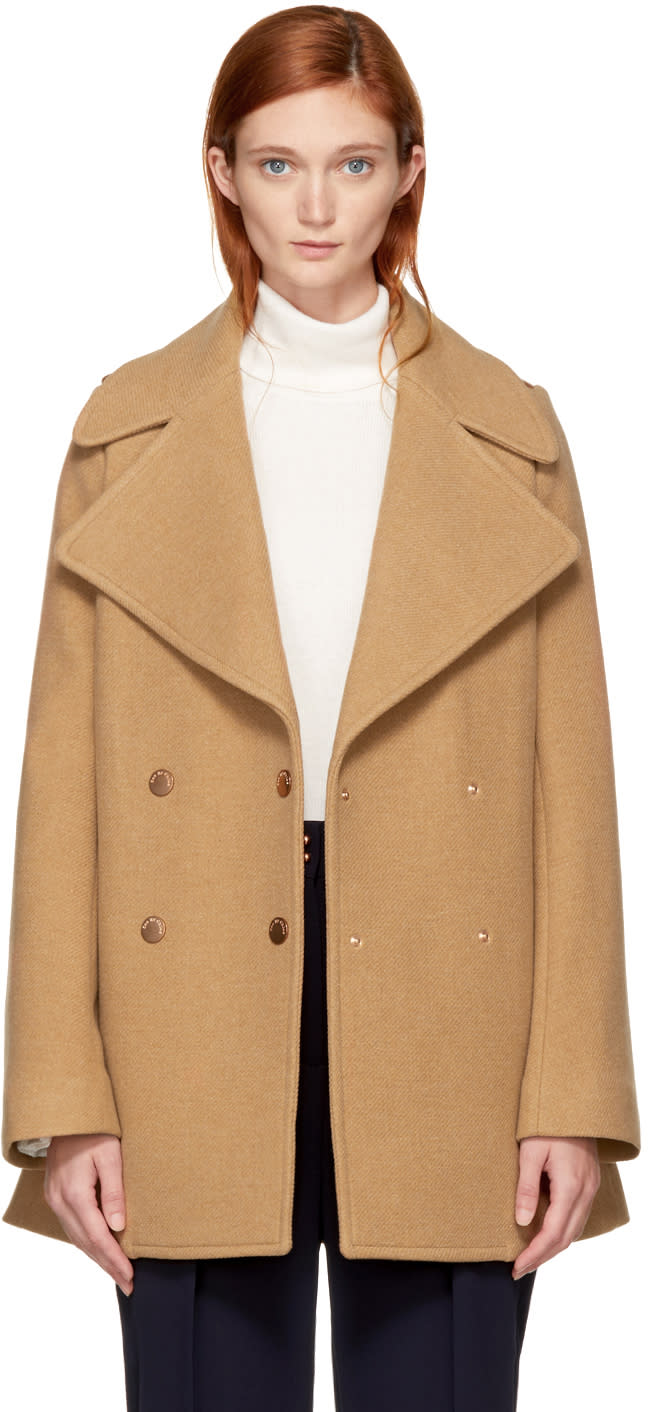 Image of See By Chloé Tan Double-breasted Wool Coat