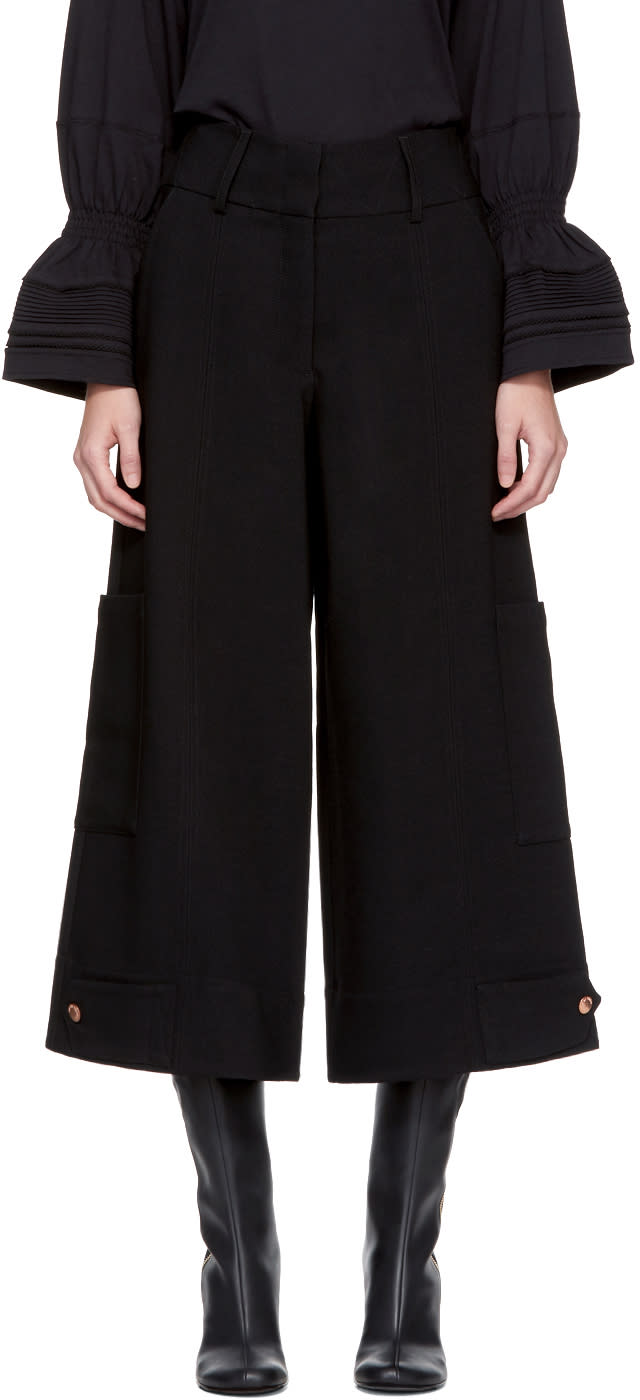Image of See By Chloé Black Button Detail Culottes