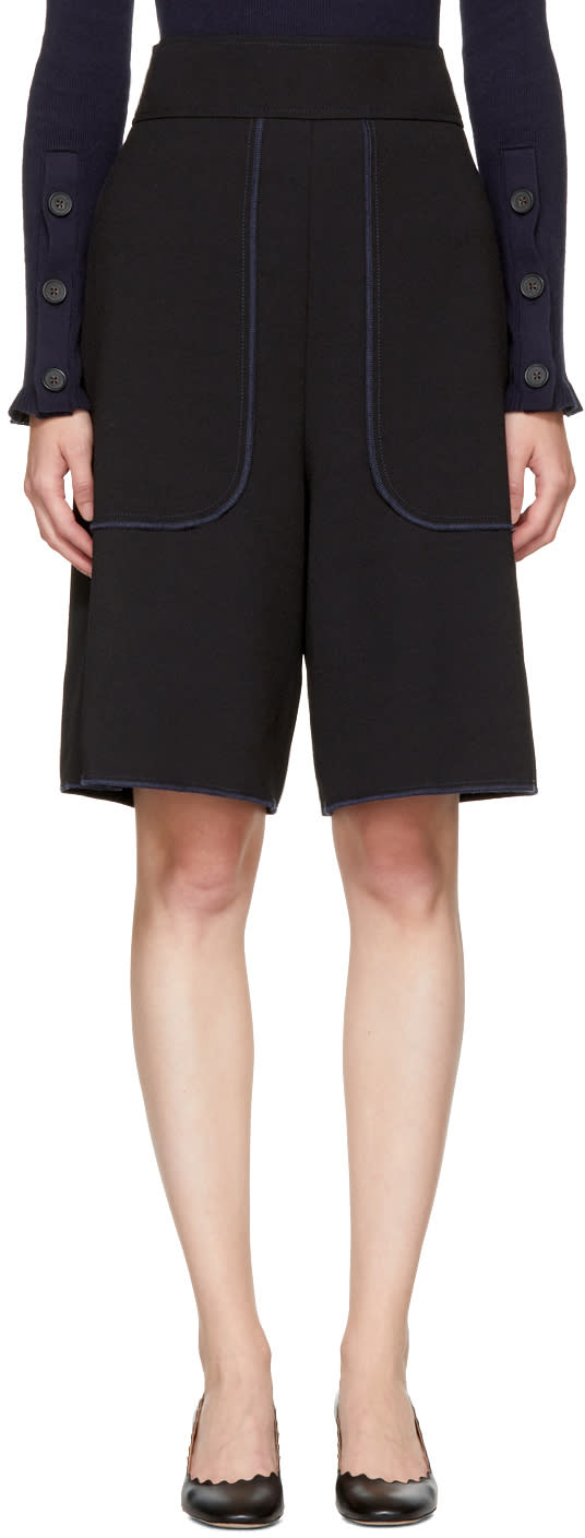 Image of See By Chloé Black Crepe Shorts