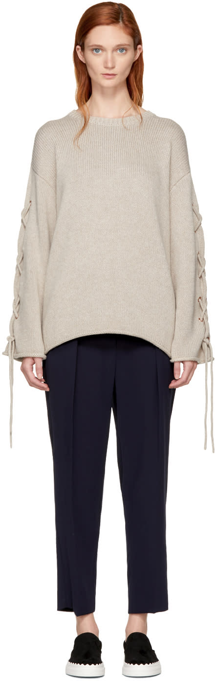 Image of See By Chloé Beige Lace-up Sweater