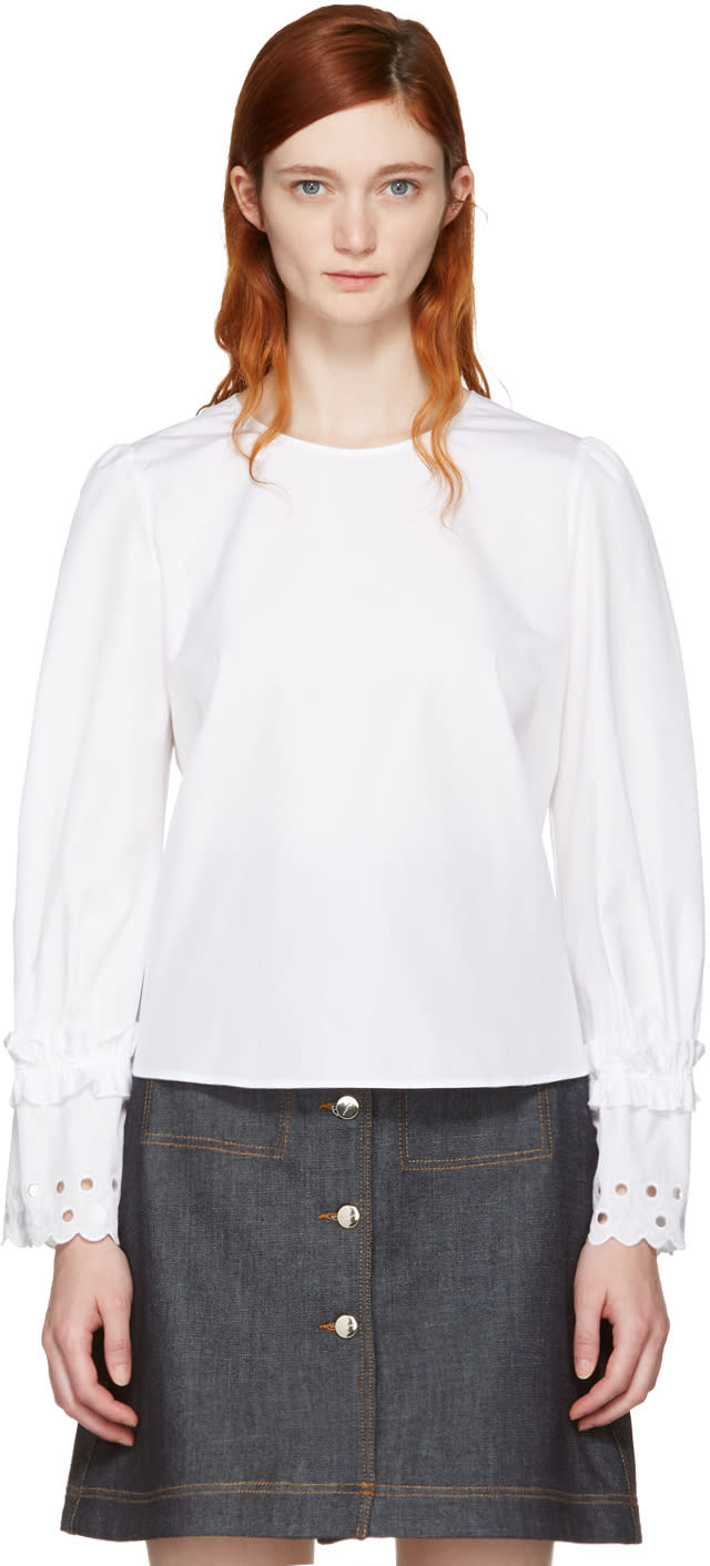 See By Chloe White Eyelet Sleeve Blouse