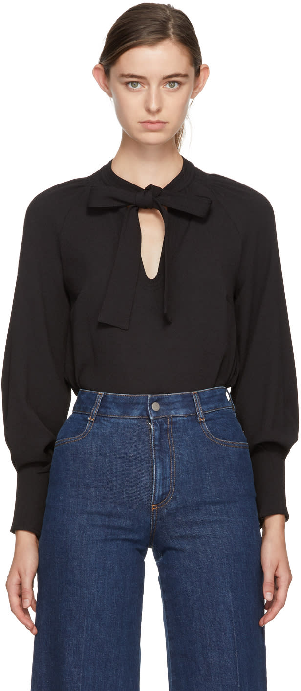 Image of See By Chloé Black Bow Blouse