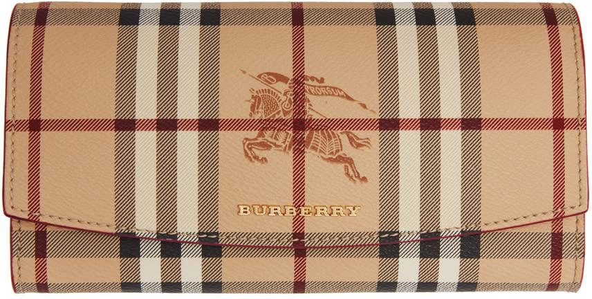 Burberry Pink Halton Haymarket Check Wallet