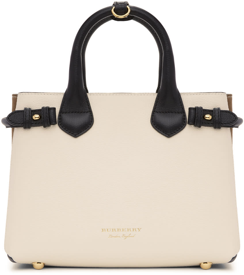 Burberry White and Black Small Banner Tote