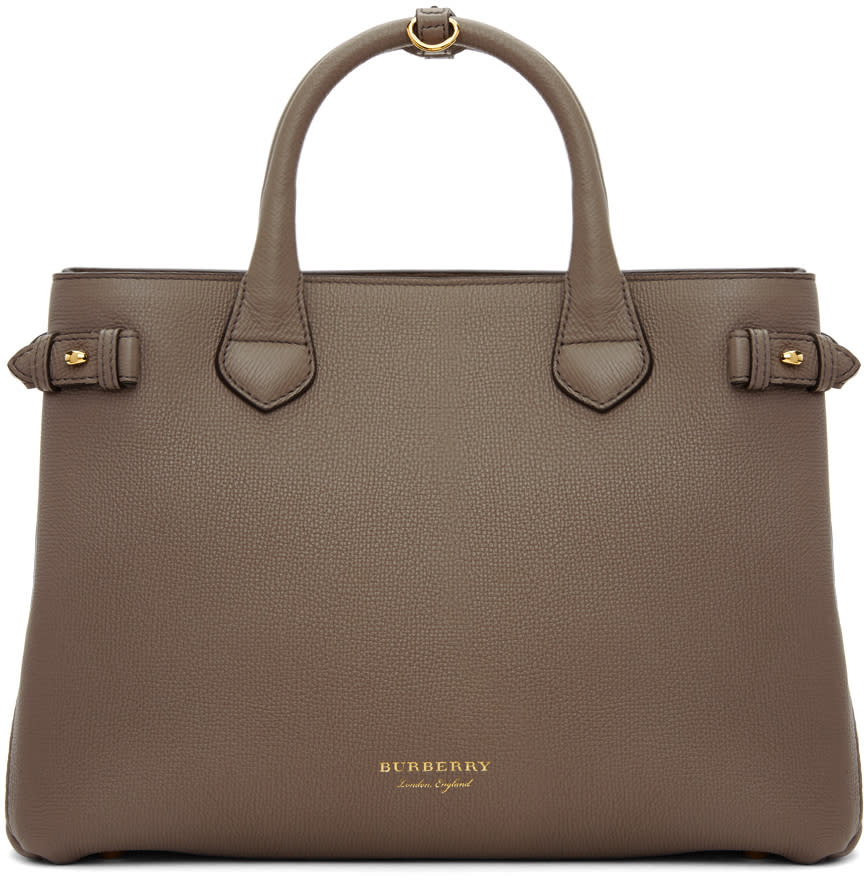 Burberry Grey Medium Banner House Check Derby Tote