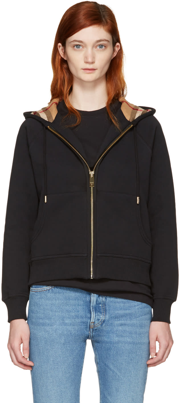 Image of Burberry Black Check Zip Hoodie