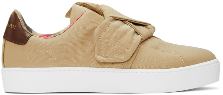 Image of Burberry Beige Westford Knot Slip-on Sneakers