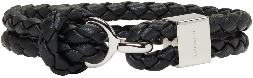 Image of Burberry Black Braided Leather Bracelet