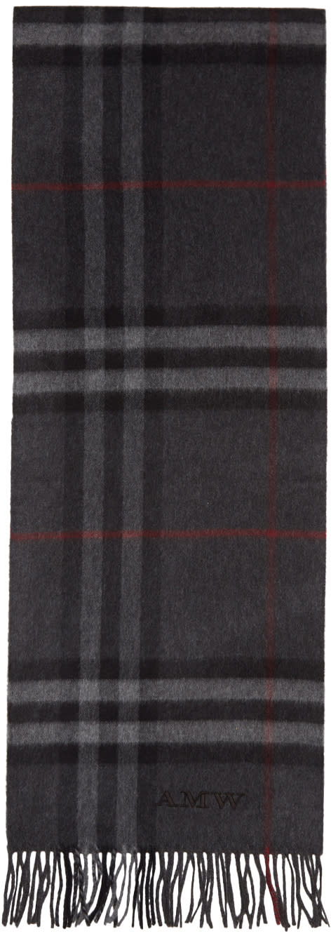 Burberry Grey Cashmere Giant Check Scarf