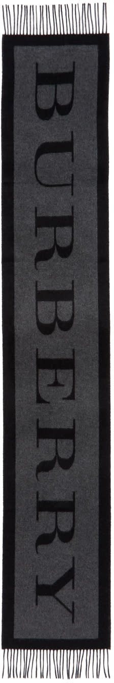 Image of Burberry Black Cashmere Logo Scarf