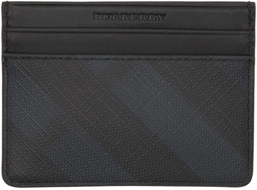 Burberry Navy Check Sandon Card Holder