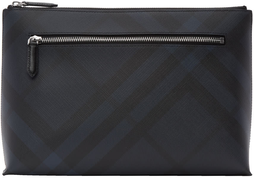 Burberry Navy Duncan London Check Pouch