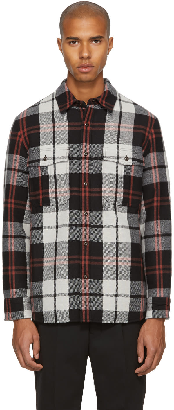 Image of Burberry Black Check Flannel Shirt