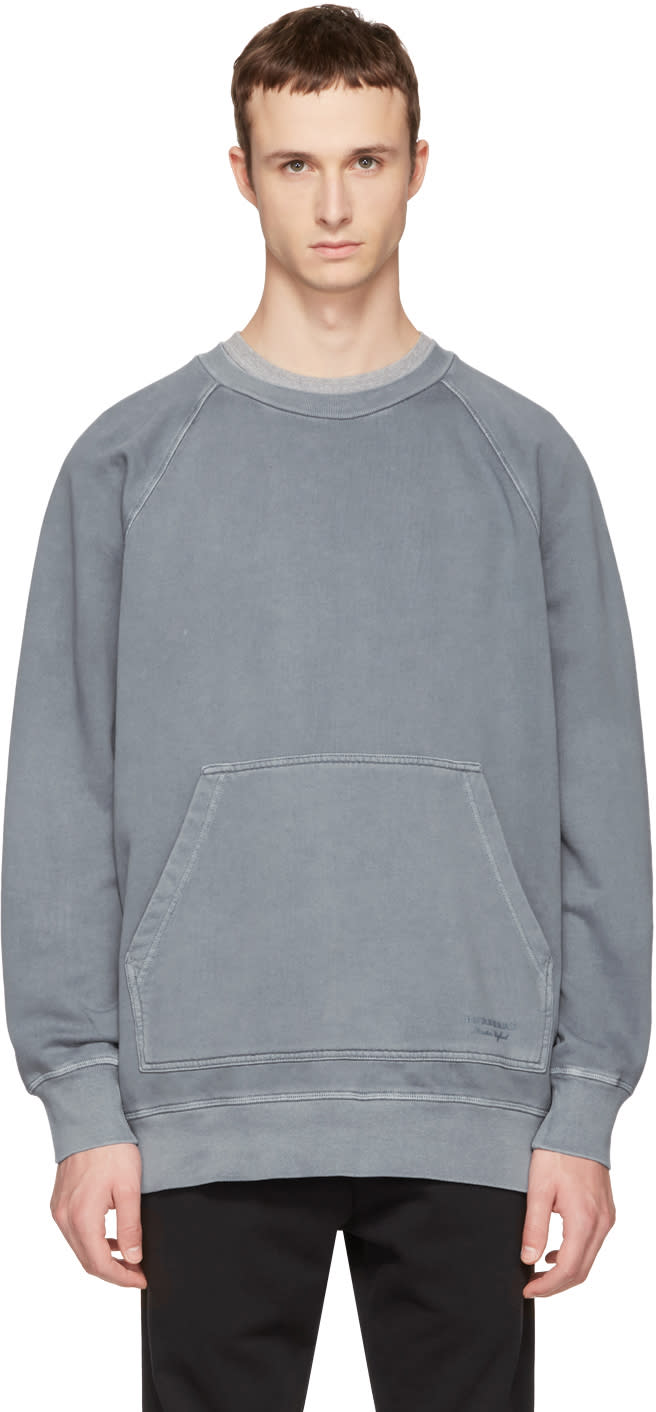 Burberry Blue Oversized Garment-dyed Sweatshirt