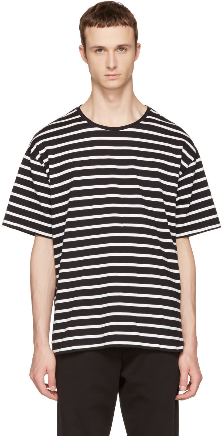 Image of Burberry Black and White Striped T-shirt