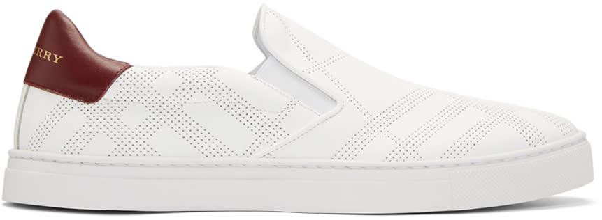 Burberry White Copford Check Slip-on Sneakers