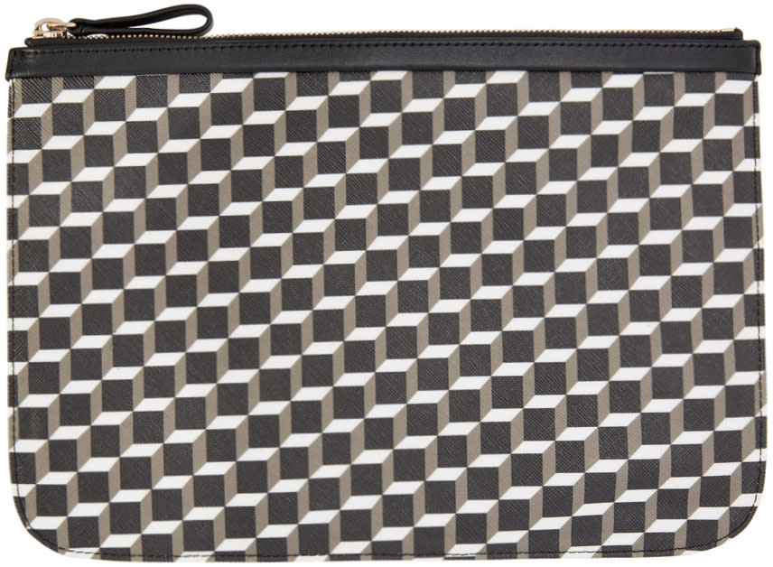 Image of Pierre Hardy Black and White Perspective Cube Pouch