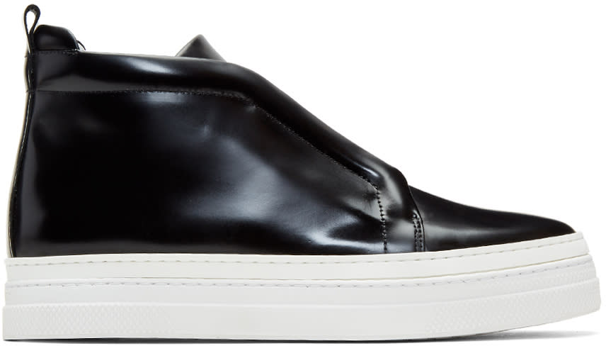 Image of Pierre Hardy Black Patent Slider 2 High-top Sneakers