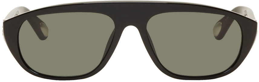Ann Demeulemeester Black Linda Farrow Edition Oval Sunglasses