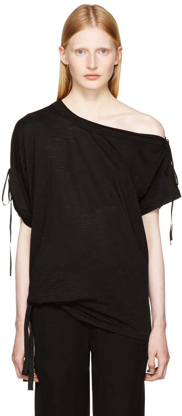 Image of Ann Demeulemeester Black Carrie Off-the-shoulder T-shirt