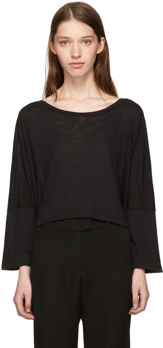 Image of Ann Demeulemeester Black Asymmetric Hem T-shirt