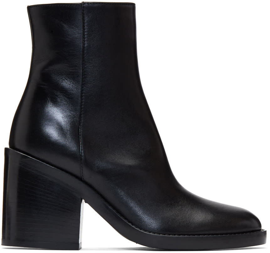 Image of Ann Demeulemeester Black Heeled Leather Boots