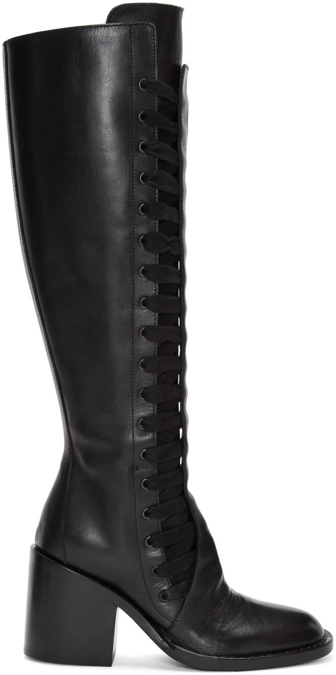 Ann Demeulemeester Black Heeled Lace-up Boots