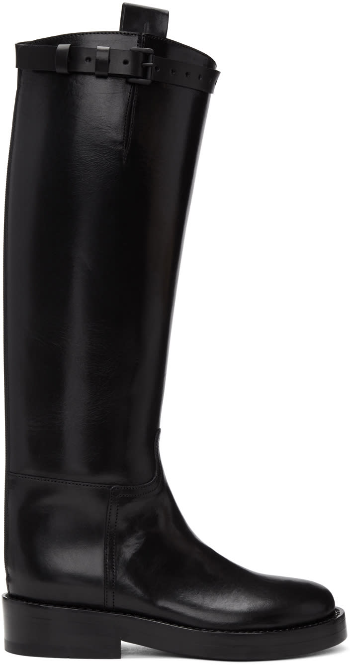Ann Demeulemeester Black Leather Riding Boots