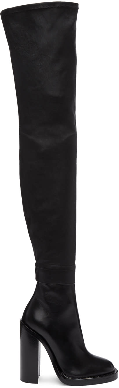 Ann Demeulemeester Black Leather Over-the-knee Boots