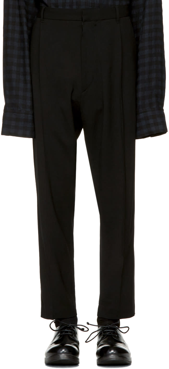 Image of Ann Demeulemeester Black Classic Pleat Trousers