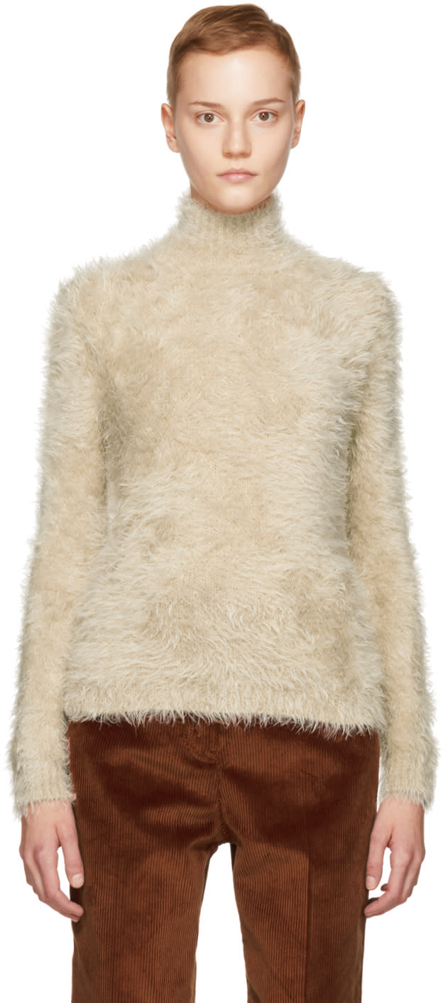 Image of Marni Beige Hairy Knit Turtleneck Sweater