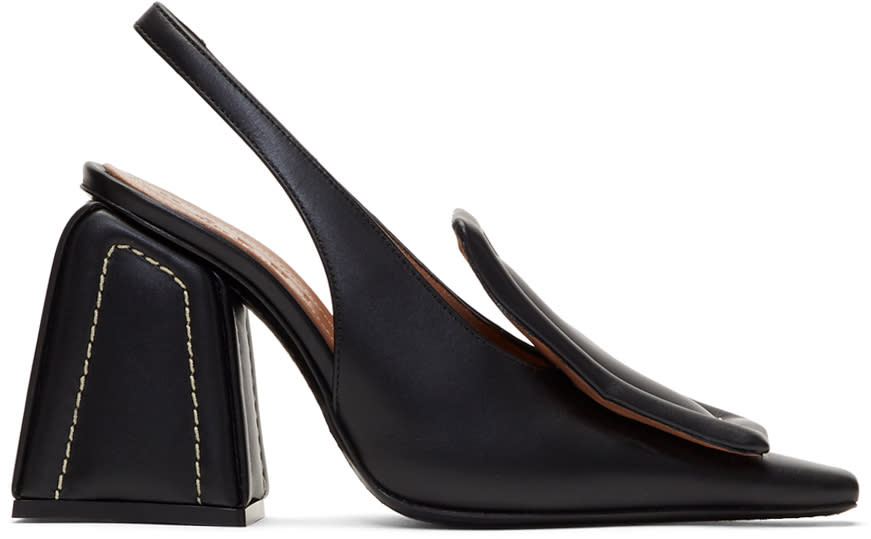 Image of Marni Black Contrast Stitch Pumps