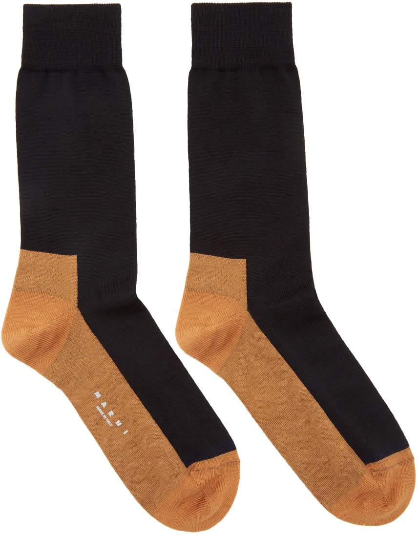 Image of Marni Black and Orange Merino Socks