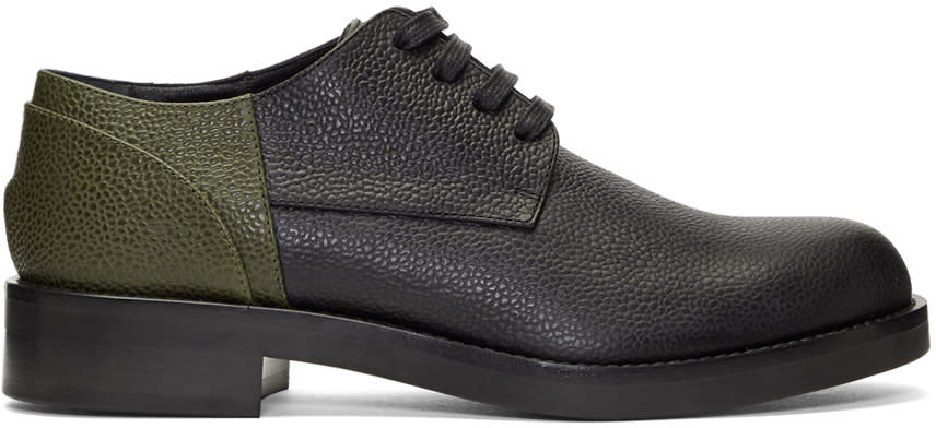 Image of Marni Black and Green Colorblocked Derbys