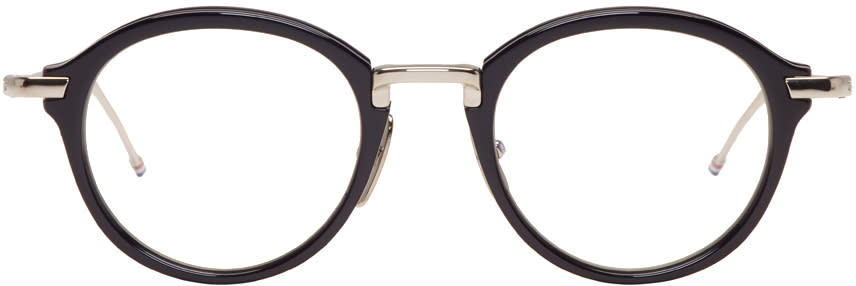 Thom Browne Navy and Silver Tb-011 Glasses