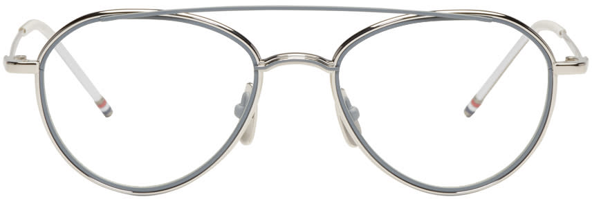 Thom Browne Silver Tb 109 Aviator Glasses
