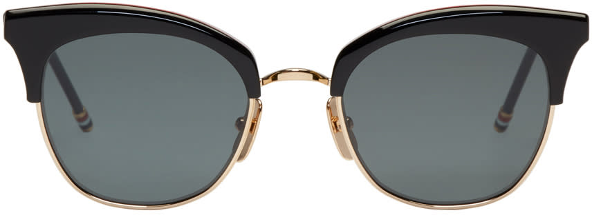 Thom Browne Black and Gold Tb 507 Sunglasses