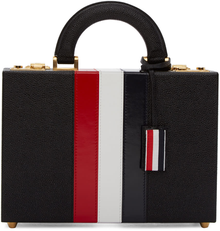 Image of Thom Browne Black Altered Proportion Attaché Case Bag
