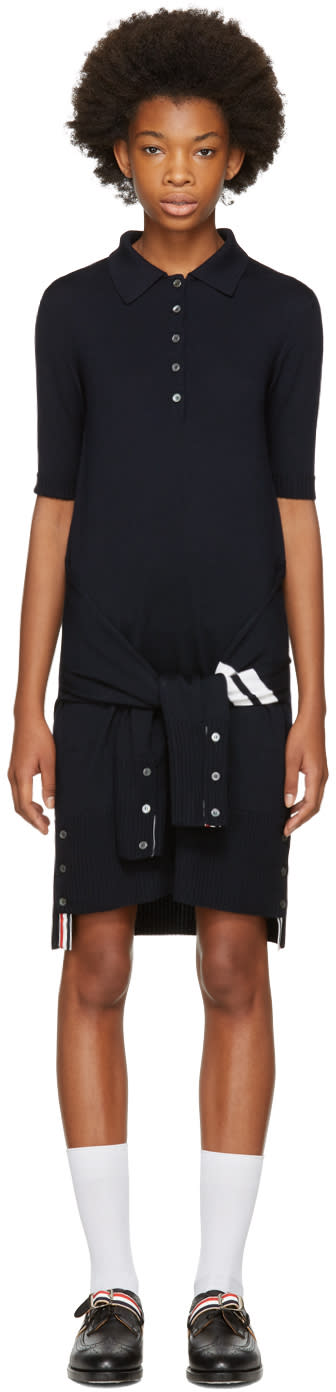 Thom Browne Navy Two-in-one Cardigan and Polo Dress
