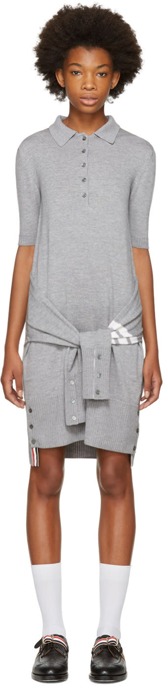 Thom Browne Grey Two-in-one Cardigan and Polo Dress
