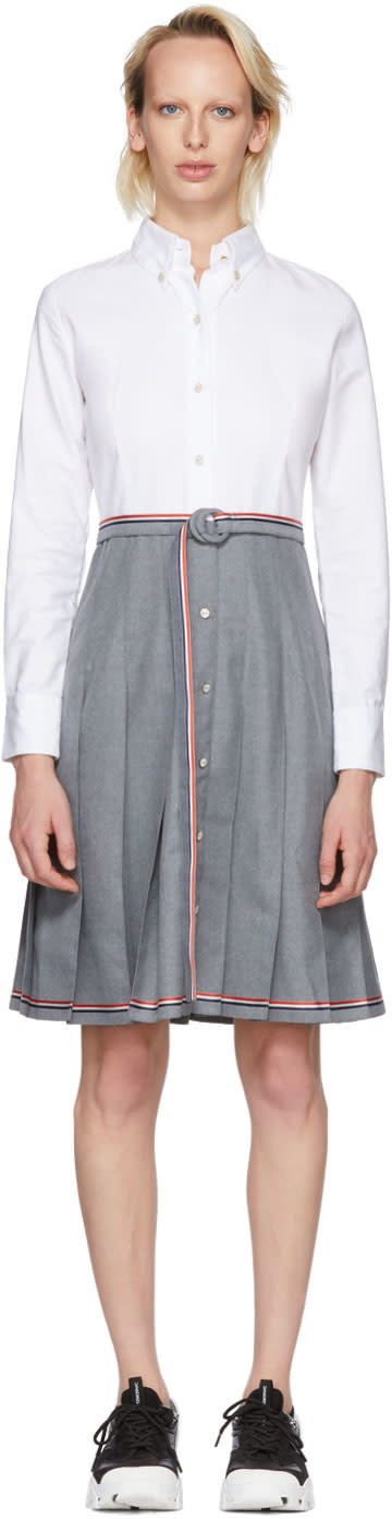 Thom Browne Grey and White Belted Illusion Shirt Dress