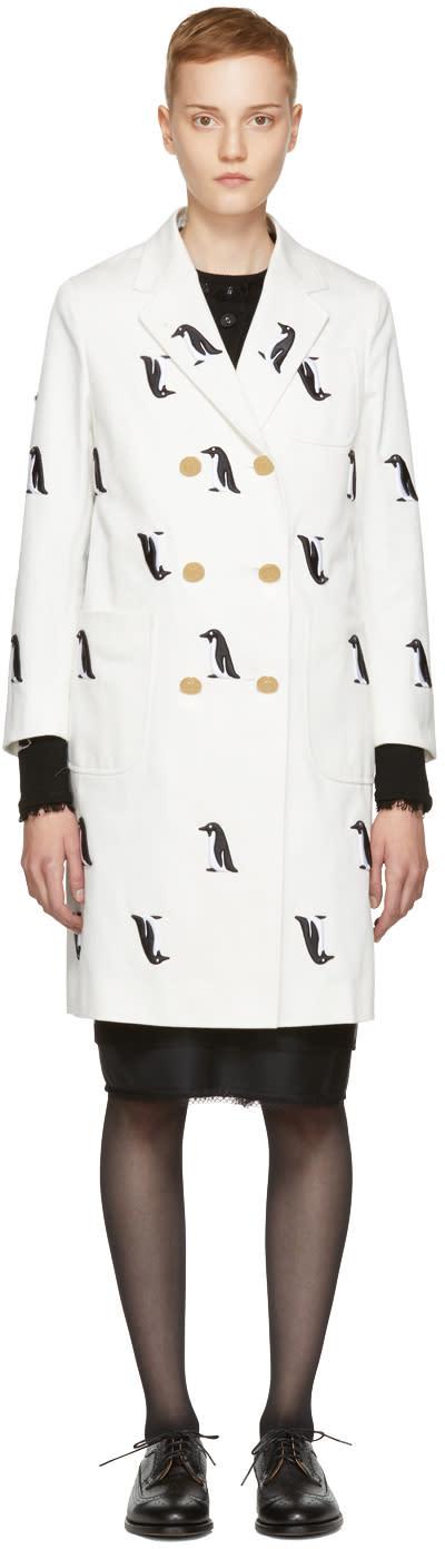 Thom Browne White Denim Penguin Sack Coat