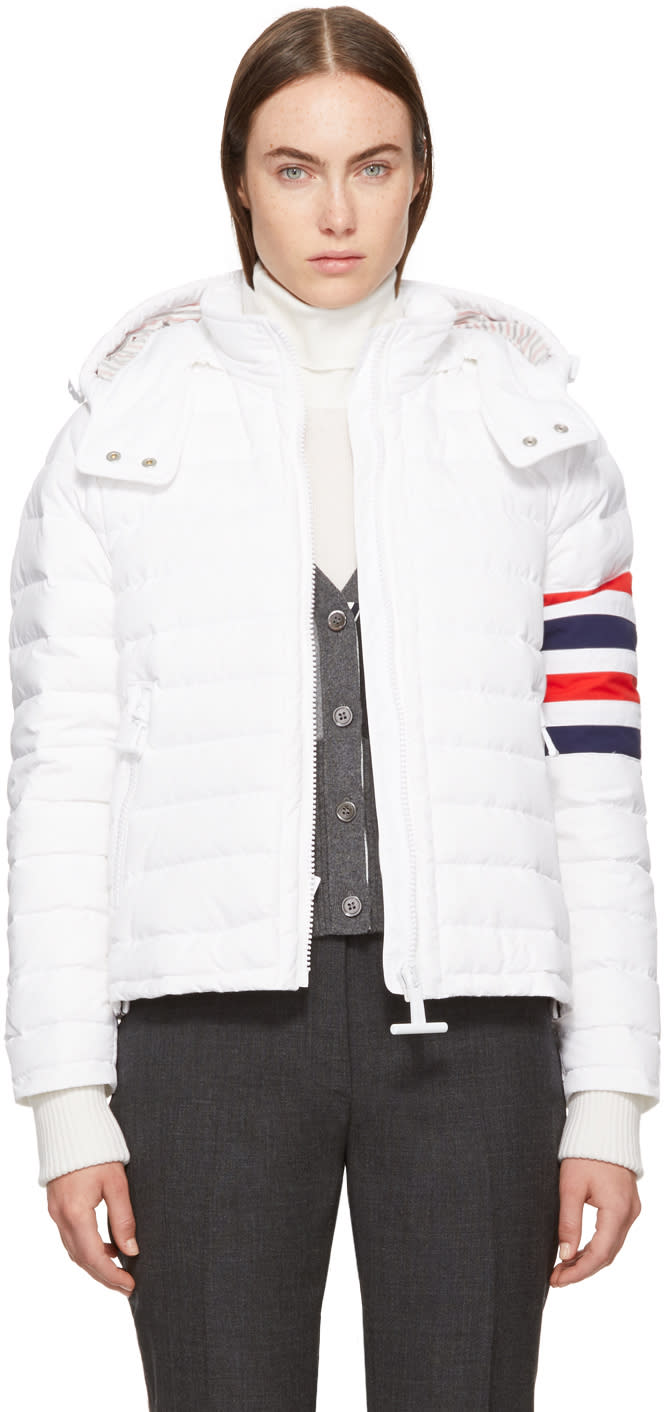 Thom Browne White Down Four Bar Ski Jacket