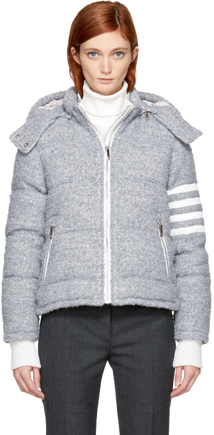 Thom Browne Grey Down Four Bar Ski Jacket