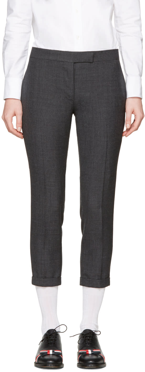 Thom Browne Grey Low-rise Skinny Trousers
