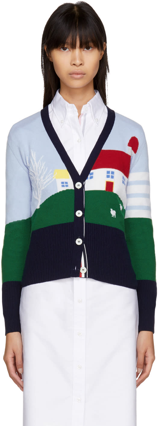 Thom Browne Multicolor Cashmere Barn House Classic V-neck Cardig