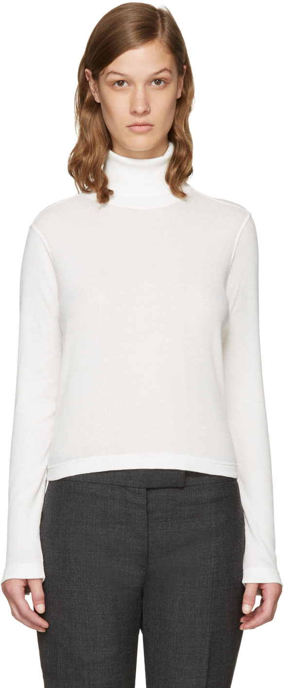 Thom Browne White Long Sleeve Turtleneck